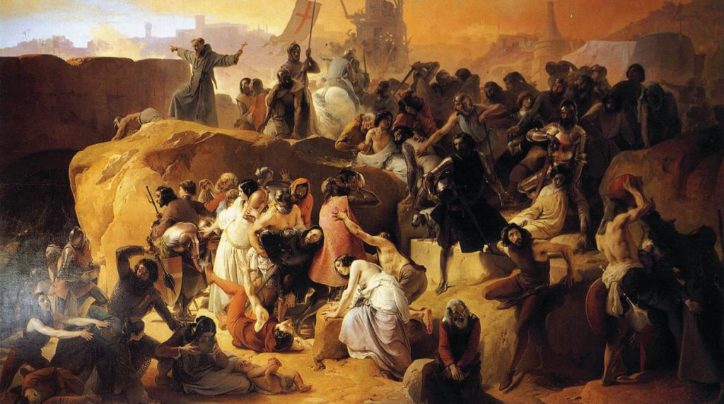 The long journey from Antioch tested the Crusaders' determination to the full. Francesco Hayes, Crusaders Thirsting near Jerusalem, oil on canvas, 19th century