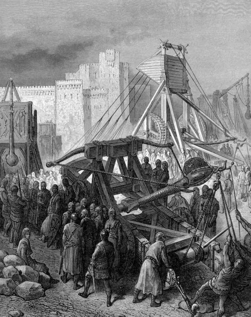 Crusaders use a catapult to bombard Jerusalem during the First Crusade. A similar device was used in the siege of Haifa. Etching by Gustave Doré, 19th century