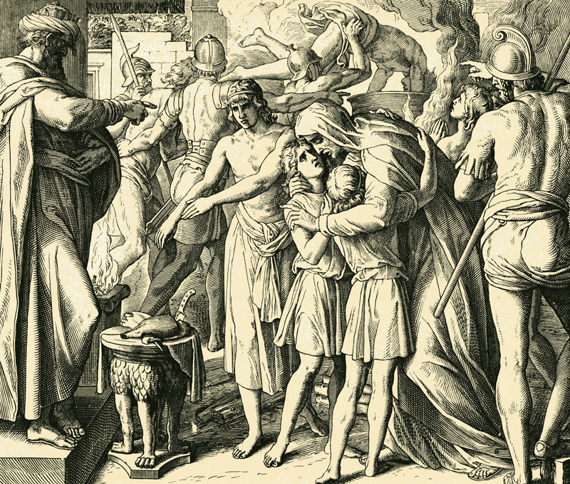 """האם ושבעת בניה (מקבים ב', ז') תחריט עץ, יוליוס וון–קארולספלד, 1860. מתוך 'התנ""""ך בתמונות'"""