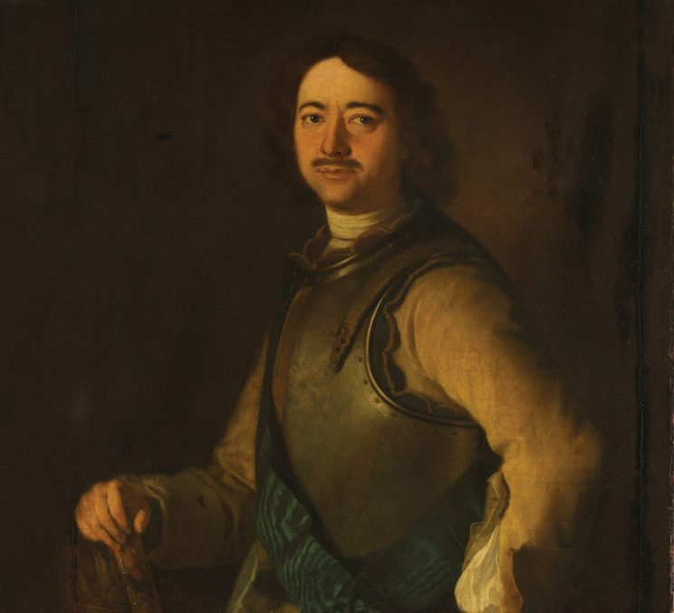 As the father of modern Russia, Peter the Great has inspired dozens of oil portraits, some by great artists, others anonymous. Many of these works, including this 18th-century likeness, show the builder of St. Petersburg holding tools or architectural sketches