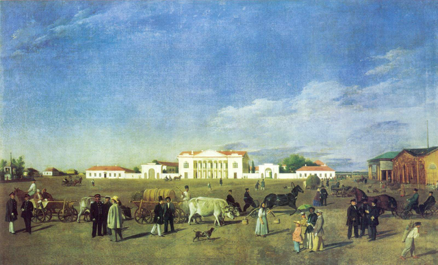 Alexander Square is the center of Poltova, the city where Rahel grew up. Evgraf Fedorovich Krendovsky, oil on canvas, circa 1830
