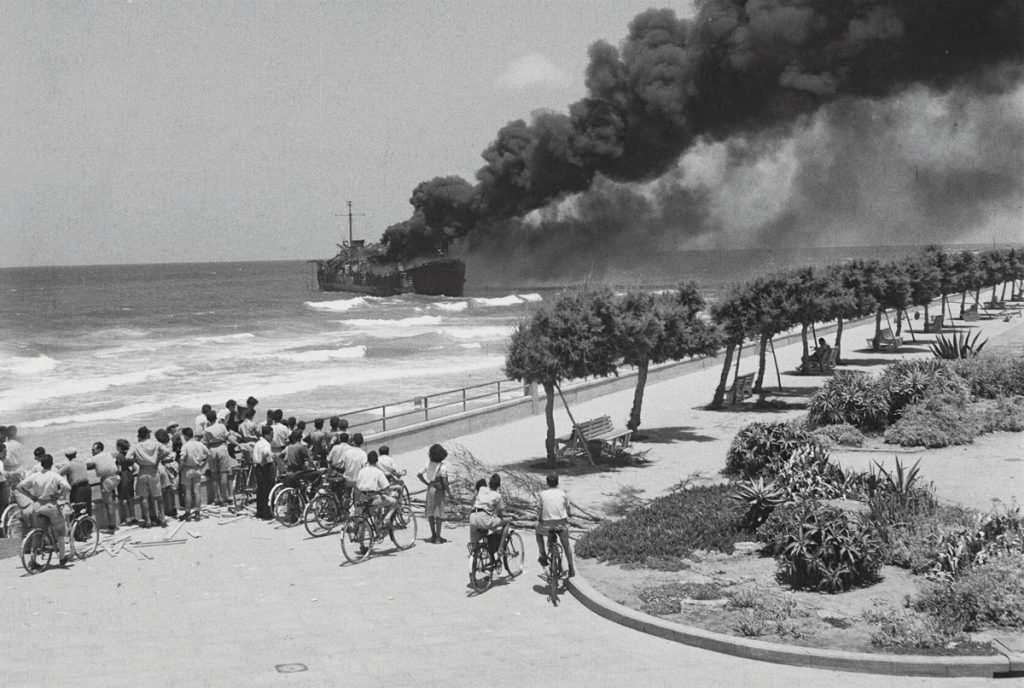 The Altalena affair was one of the most infamous and controversial in Israeli history, but few realize the ship was purchased with money raised by Ben Hecht. The Altalena burning within sight of Tel Aviv's beaches