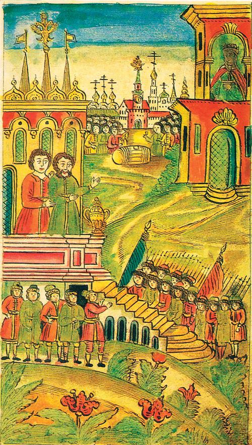 מרד הסטרליצים. אחת מתוך עשרות מיניאטורות שהופיעו בביוגרפיה של פיוטר הגדול. כתב יד, המאה ה־18