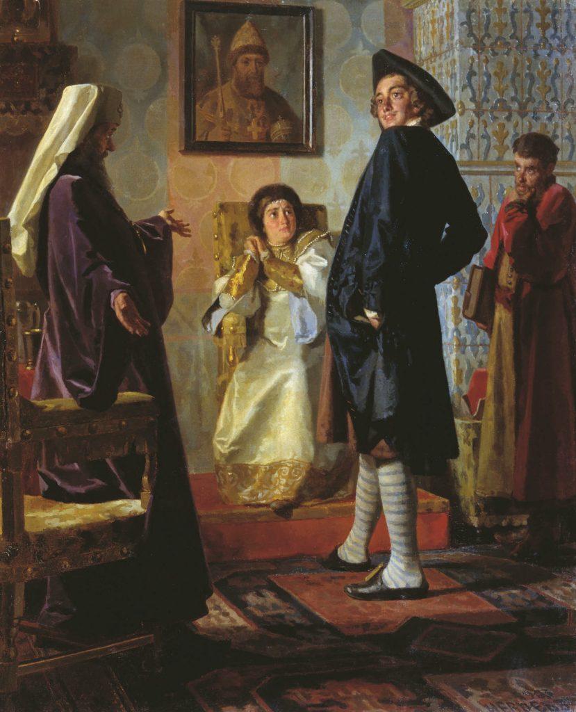 פיוטר המחופש נפגש עם אמו לפני צאתו למסע הגדול באירופה. ציור זה לא תואם את לוח הזמנים ההיסטורי, שכן אמו של פיוטר, הצארינה נטליה, נפטרה ב־1694, שלוש שנים לפני שיצא למסע הגדול.
