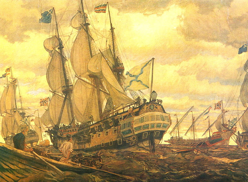 Fleet of Peter the Great by Yevgeny Lansere, 1909