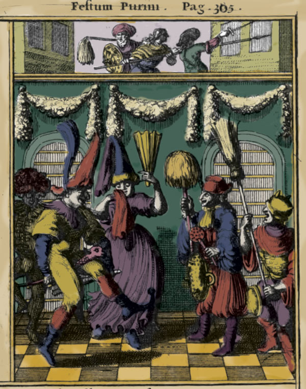 One of the earliest extant depictions of a Purim spiel: woodcut, Holland, 1657