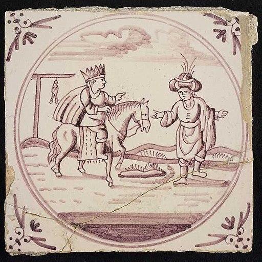 אריח ועליו איור של המן המוביל את מרדכי, לבוש בבגדי מלכות, על סוס. המחצית השנייה של המאה ה-18, מוזיאון רוטרדם