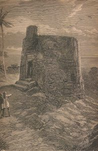 Ridding the earth of impurity. The Tower of Silence, Mumbai. Traditionally, bodies were left here to be consumed by birds of prey. Engraving from True Stories of the Reign of Queen Victoria, by Cornelius Brown, 1886