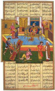 סצנה מן המיתולוגיה הפרסית מתוך כתב יד קדום