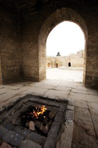 "Ateshgah (""Seat of Fire"") fire temple, built in the 17th and 18th centuries in a suburb of Baku, the capital of Azerbaijan. It is unclear whether this place of worship was originally Zoroastrian or Hindu"