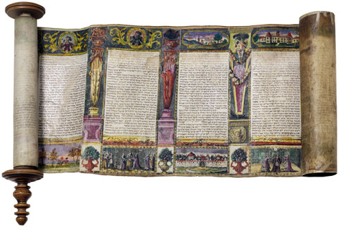 Illuminated text of a scroll of Esther. Ink on parchment, color print from copper engravings and carved wood, 17th century, Italy