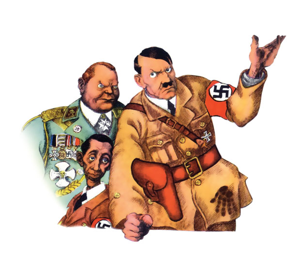Hitler consults Goering and Goebbels