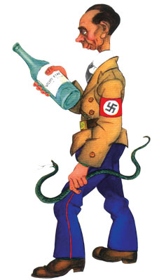 Goebbels holds a snake and a bottle of Vichy water, symbolizing the Nazis' hold over the Vichy government