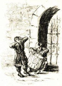 איור לסיפור 'הרבי מבכרך' מאת הצייר היהודי הגרמני מקס ליברמן