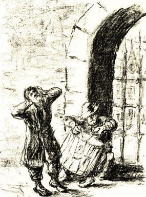 Illustration from The Rabbi of Bacharach, by German Jewish artist Max Liebermann