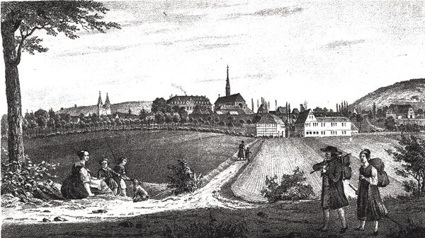 The spa town of Heiligenstadt, where Heine was baptized. Etching by Carl Duval, circa 1840