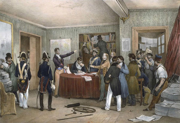 Seizure of the printing press at the French daily Le National after journalists gathered there to protest censorship during the July Revolution of 1830. The revolution swung the country toward liberalism, prompting Heine to leave Germany for Paris. Painting by Victor Adam, 1830