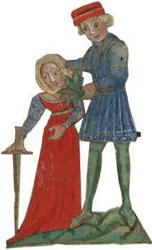 """""""מרור זה שאנו אוכלים על שום מה?"""". איור מתוך 'הגדת וושינגטון' — הגדה איטלקית שאוירה על ידי יואל בן שמעון ב־1478"""