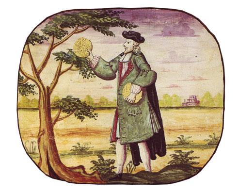 """איור של סופר הסת""""ם אורי פייבוש מתוך הגדת קופנהגן. צבעי מים על קלף, 1739"""