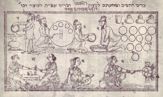 """הכנות לפסח של גברים ונשים בנפרד. הכיתוב """"כדיני טחינת החיטים וכדיני אפיית המצות"""" מופיע גם בשפה המרתית המדוברת בהודו. איור מתוך הגדת פונה שנדפסה בהודו ב־1874"""