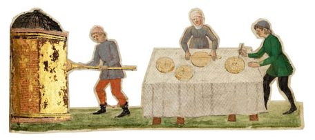 Preparing matza. Illustrations from the Rothschild Miscellany, commissioned by Moshe ben Yekutiel Hakohen and dated to 1479, reflect the rich manuscript illumination of the Italian Renaissance