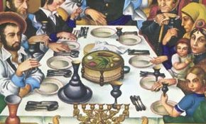 Many of the figures seated around the Seder table pictured in Szyk's Haggada were portraits of real people at a Seder he attended in Poland not long before World War II, in the house of Rabbi Eliezer Gershon Friedenson