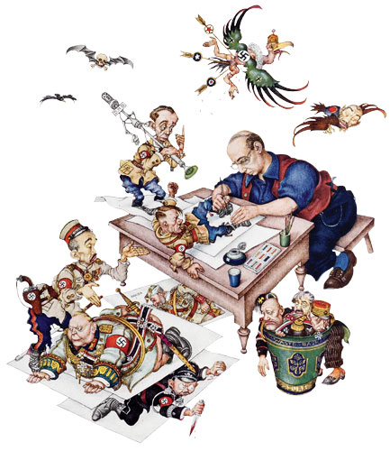 The frontispiece for Szyk's book Ink and Blood (New York: Heritage Press, 1946). Hitler squirms as he emerges from under the artist's pen; his propaganda chief, Goebbels, stands on the table holding a microphone; and Goering grovels on the floor. Mussolini, Petain, and Laval languish in the artist's wastepaper bin
