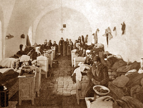 All-inclusive hotel package, 19th-century-style. Female pilgrims in the Russian Compound hostel