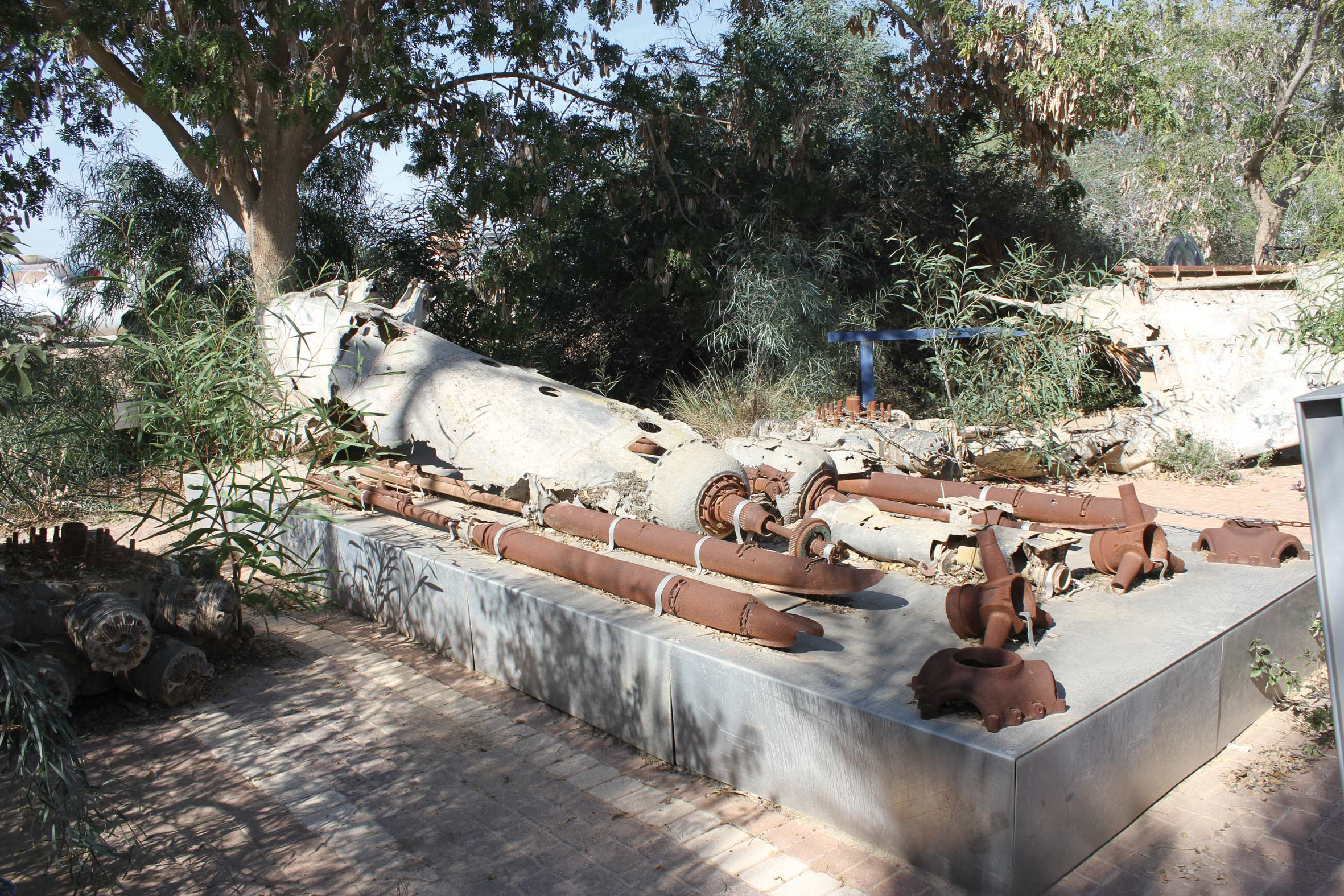 All that remains of the Israeli Beaufighter plane that crashed in the Ashdod sand dunes in 1948, incorporated into a monument at the Israeli Air Force Museum