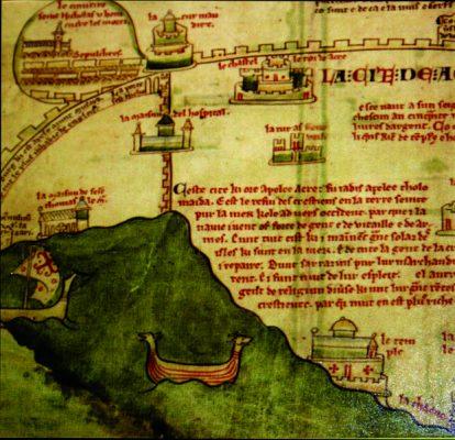 חלק ממפת עכו משנת 1252