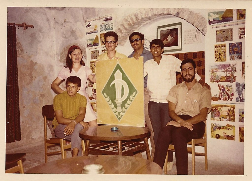 Members of Ganat C with the Nahal insignia in the entrance hall of their accommodations in the Jewish Quarter