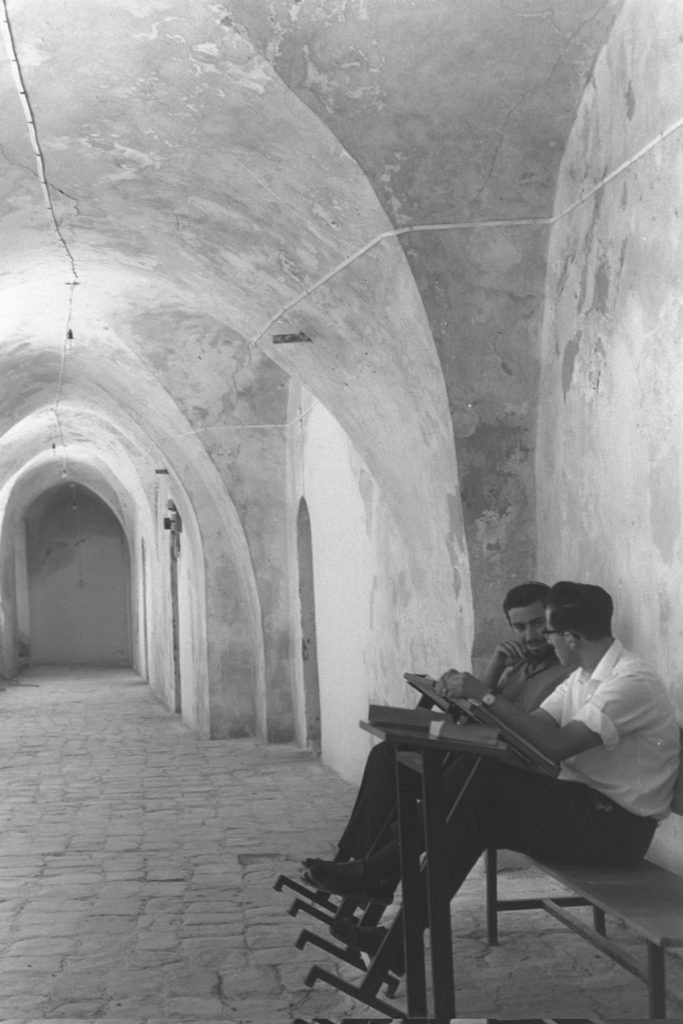 The singsong of Talmudic learning returns to the Old City. Two students from the Kotel Yeshiva, June 1968