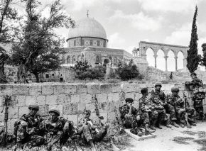 Soldiers at rest. Paratroopers take a breather on the Temple Mount just after its capture