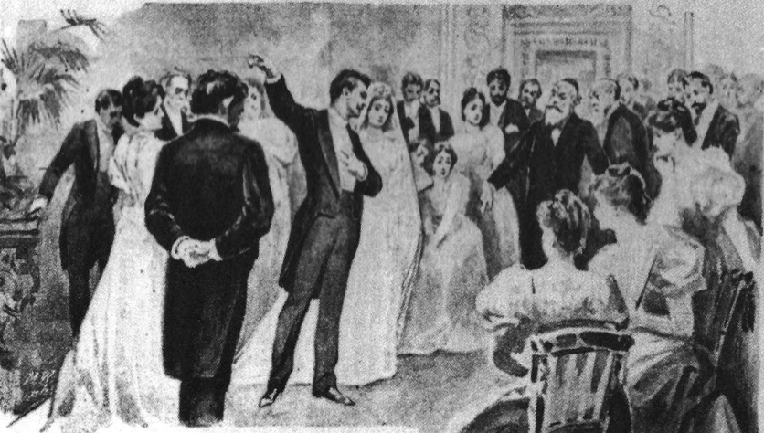 Herzl's generation was repulsed by the mercenary Jewish bourgeoisie. Jacob Samuel's wedding reception, the opening scene of The New Ghetto