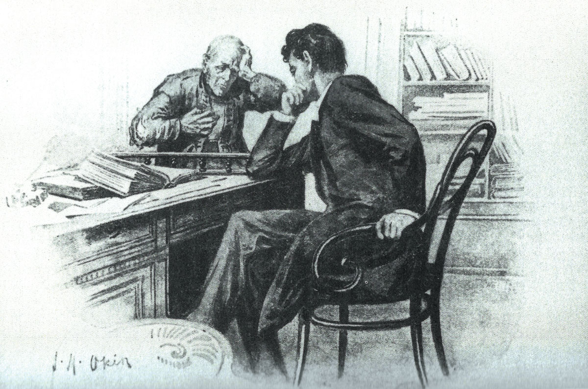 Attempting to assist the exploited working classes in their struggle against their rich employers, Jacob Samuel meets with miner Peter Vednik in his legal office. Illustration by Joseph Michael Okin, 1898