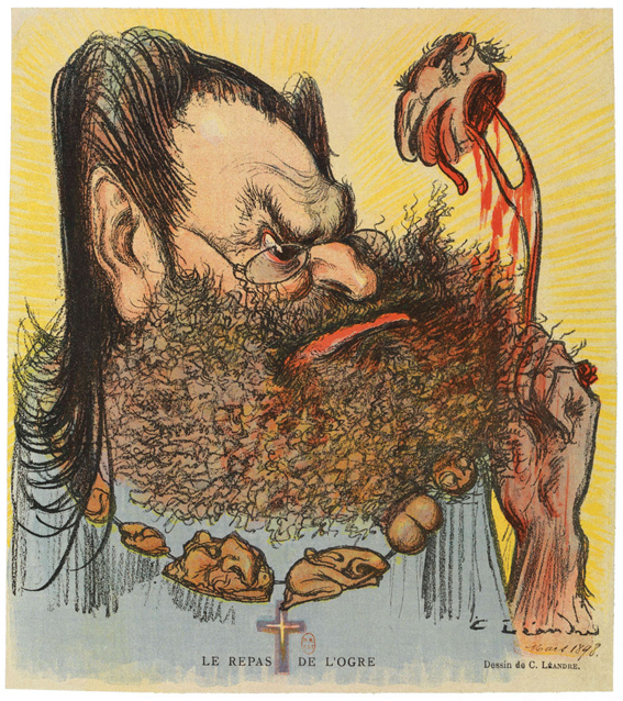 """The Ogre's Meal."" Caricature of Drumont eating Dreyfus one organ at a time, by Charles Léandre, from the French satirical magazine Le Rire (Laughter), March 5, 1898"