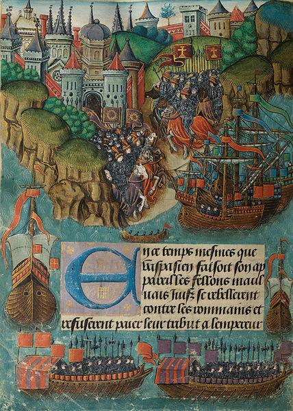 נירון קיסר שולח את אספסיאנוס לדכא את המרד ביהודה. מתוך כתב יד מאויר מראשית המאה ה־16, הספרייה הלאומית של ויילס