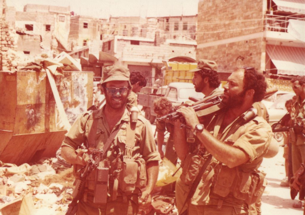 Enormous stores of weapons and ammunition were found in many of the houses searched by the IDF. Combat soldiers from Danny Brenner's battalion with Kalashnikov rifles confiscated from a home in Sidon