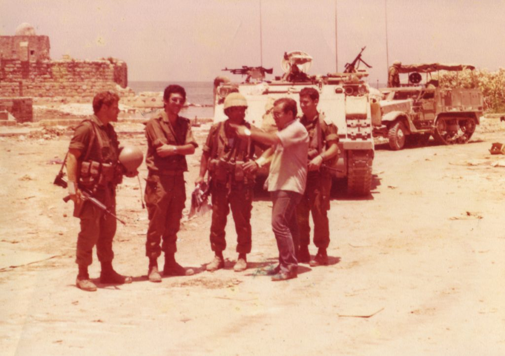 A lone Jew in PLO territory. Yitzhak Halevy with paratroopers. He and his family were later moved to Israel. Third from left: Rafi Gil, deputy battalion commander