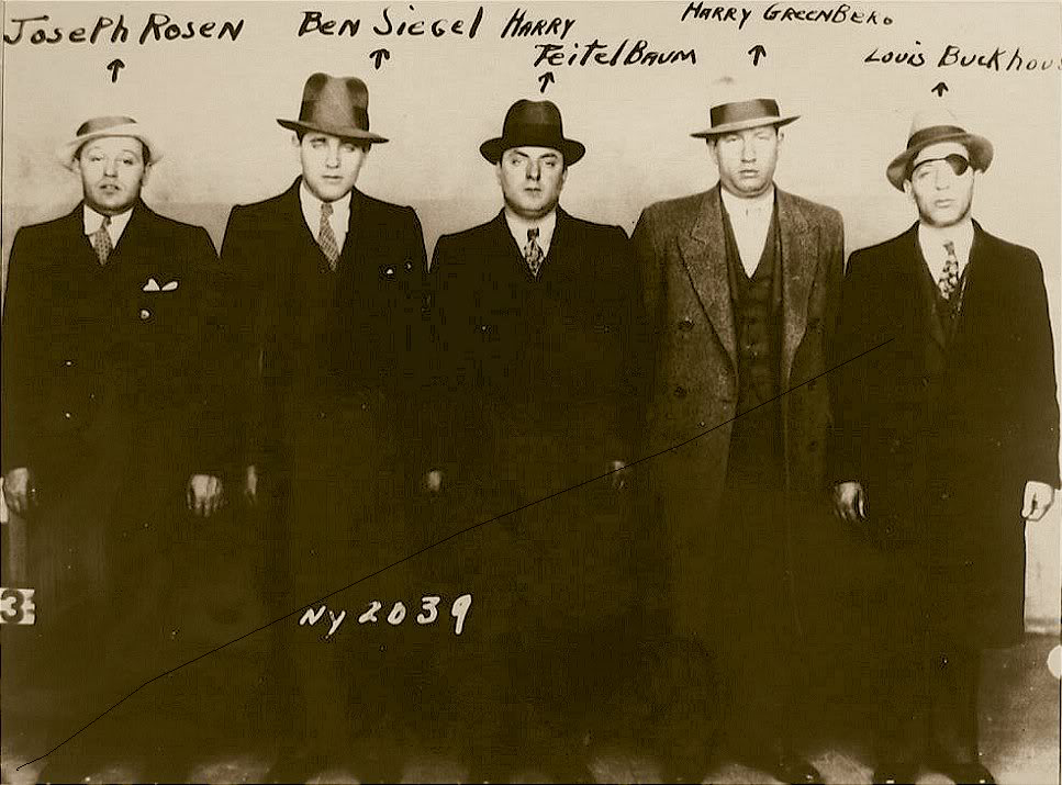 "Bugsy Siegel and his men in a mug shot taken during the Hotel Franconia raid, November 1931. Arrested under the infamous ""Public Enemy"" law, the gangsters were later released for lack of evidence of criminal intent. At the hotel, the Italian and Jewish Mafiosi reputedly entered into a cooperation agreement"
