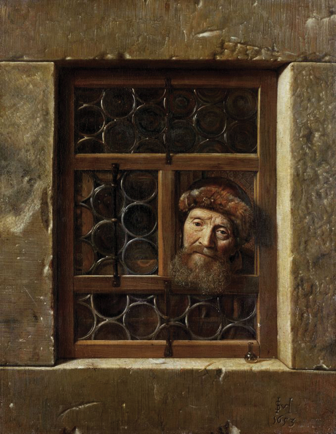 The subject of this painting by 17th-century Dutch artist Samuel Dirksz van Hoogstraten is traditionally identified as Rabbi Yom Tov Lipmann Heller, author of the eponymous Tosfot Yom Tov commentary on the Mishna, who was imprisoned in Vienna for forty days in 1629. Yet van Hoogstraten was only two at that time, and the work wasn't produced until 1653