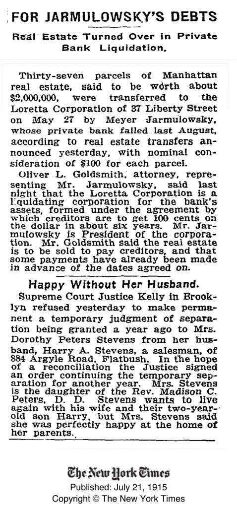 ידיעה שפורסמה ב'ניו יורק טיימס' מספרת על הקשיים בבנק של ירמולובסקי ועל הדרך שבה נמלט בנו מאיר, 21.7.1915