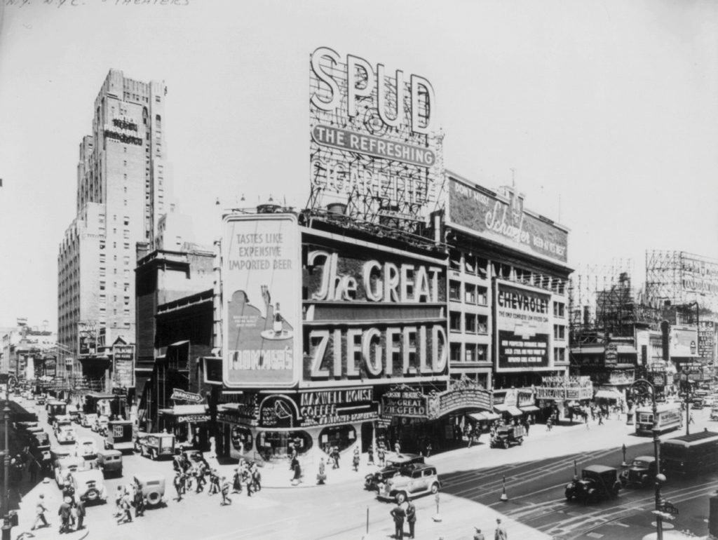 The Ziegfield Theater in 1936. Built in 1927 at a cost of two and a half million dollars, the theater seated 1,600. The building was demolished in 1966 despite public protest