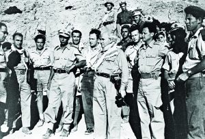 Touring the Negev with Yitzhak Rabin – one of many Palmah officers absorbed into the IDF high command – shortly after the War of Independence