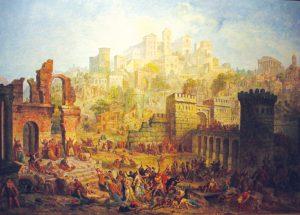 בגזרות דת קדומות הסתפקו השלטונות בהצהרה עקרונית של נאמנות, אך הצלבנים דרשו מהיהודים המרת דת גמורה. הטבח במץ במסע הצלב הראשון, אוגוסט מיגט, המאה ה-19
