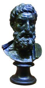 """האם המודרניות התעוררה בהשפעתו של פילוסוף יווני מהמאה הרביעית לפסה""""נ? פסל ברונזה של אפיקורוס מהתקופה האוגוסטינית שנמצא בעיר החרבה הרקולנאום"""