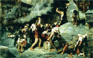 הצלבנים הפורעים רדפו אחרי היהודים אל ארמונו הבישוף של וורמס שנתן את חסותו ליהודים. 'לרגלי המושיע - טבח ביהודים בימי הביניים', ויסנטה קוטנדה, 1887, מוזאון סרגוסה