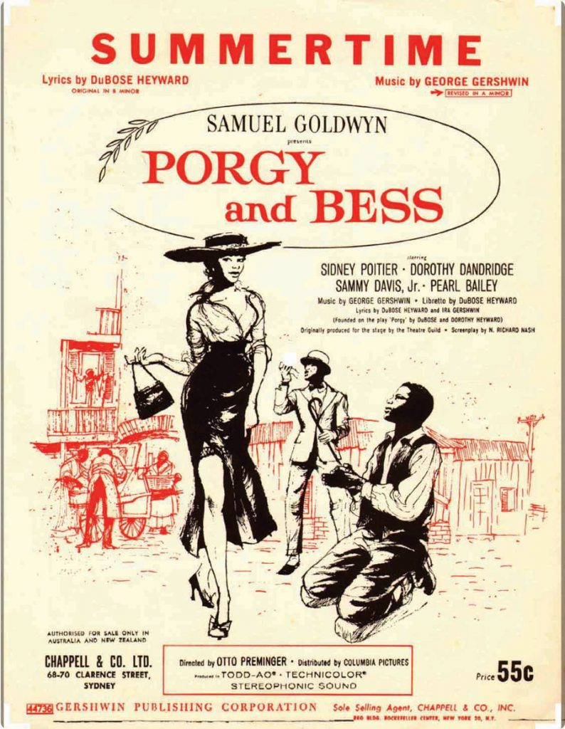 A world-wide classic. Movie poster for Porgy and Bess, Australia
