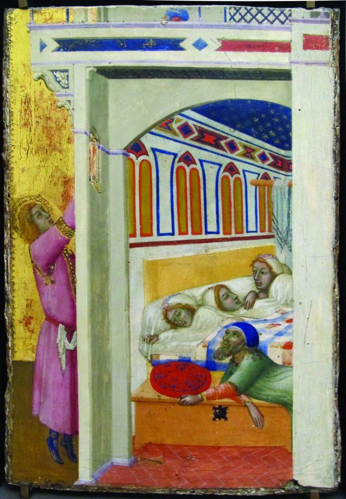 שלוש האחיות במיטה אחת לצד אביהן. ציור המתאר קדוש נוצרי הנותן צדקה בסתר למשפחת עניים. הצדקה של ניקולאס הקדוש, פייטרו לורנצטי, המאה ה-14