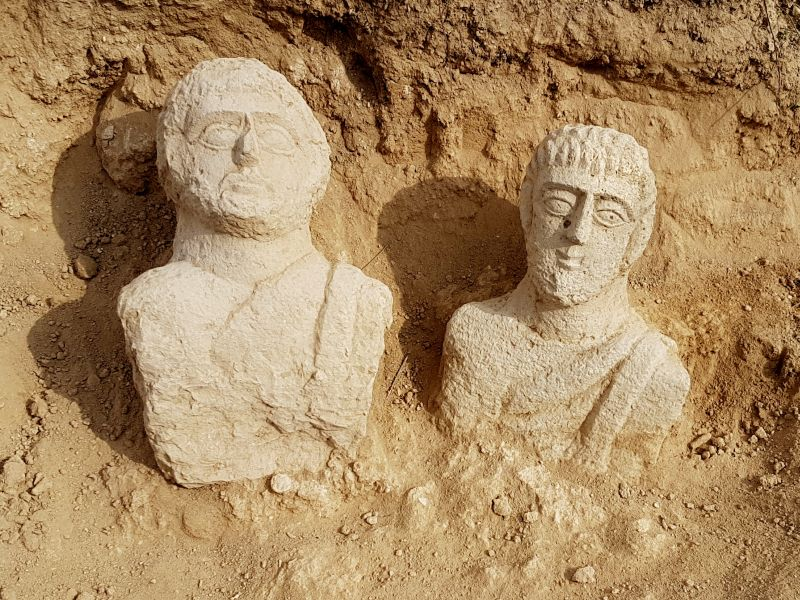 Washed up by the rain. Busts from Beth Shean, possibly grave markers